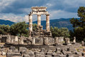 Tholos at delphi greece the ruins of the in archaeological site Royalty Free Stock Image