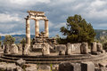 Tholos at delphi greece the ruins of the in archaeological site Royalty Free Stock Photo