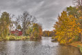 Thornapple river in barry county barn on the near mckeown road bridge michigan the fall Royalty Free Stock Photos