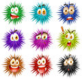 Thorny balls with faces illustration Royalty Free Stock Photo