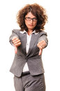 Though business woman thumbs down showing both hands failure concept isolated on white background Stock Photos
