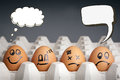 Thought balloon egg characters mental health concept in playful style with displaying different emotions and blank speech bubbles Stock Images