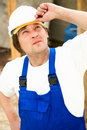 Thoughtful builder Stock Image