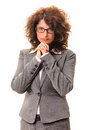 Thoughtful business woman in glasses head on hands isolated on white background Royalty Free Stock Photo