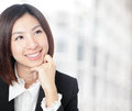 Thoughtful business woman portrait with smile Stock Photos