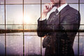 Thoughtful businessman double exposure Royalty Free Stock Photo