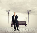 Thoughtful businessman looking at camera Royalty Free Stock Photos