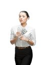 Thoughtful businesswoman holding money Royalty Free Stock Photos