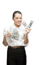Thoughtful businesswoman holding money Stock Images