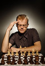 Thoughtful chess master Royalty Free Stock Images