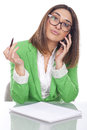 Thoughtful executive secretary on the phone Royalty Free Stock Photo