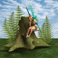Thoughtful fairy d digital render of a beautiful blond sitting on the shelf fungus in the green fantasy woodland blue sky Stock Photography