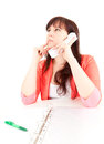 Thoughtful fat businesswoman on the phone Stock Image