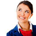 Thoughtful flight attendant Royalty Free Stock Photo
