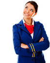 Thoughtful flight attendant Stock Photos
