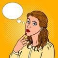 Thoughtful girl pop art style vector illustration