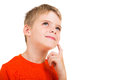 Thoughtful little boy isolated on white background Royalty Free Stock Image