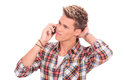 Thoughtful man on the phone Royalty Free Stock Photo