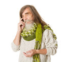 Thoughtful senior old man long hair mustache beard happy smiling over white background Stock Photo