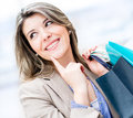 Thoughtful shopping girl Stock Photos