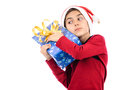 Thoughtful teen keep tight Christmas gift box Stock Images