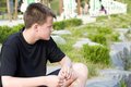Thoughtful teenager boy Royalty Free Stock Photos