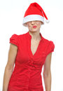 Thoughtful woman with Christmas hat over eyes Royalty Free Stock Images