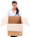 Thoughtful woman with an empty box Stock Images