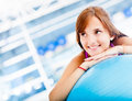 Thoughtful woman at the gym Royalty Free Stock Photography