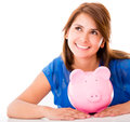 Thoughtful woman with her savings Royalty Free Stock Photography