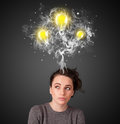Thoughtful woman with smoke and lightbulbs above her head pretty young Stock Images