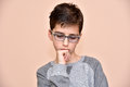 Thoughtful young boy Royalty Free Stock Photo