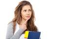 Thoughtful young female student isolated on white background Stock Image