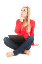 Thoughtful young woman with laptop Stock Photography