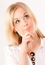 Thoughtful young woman portrait of an pretty blonde Royalty Free Stock Photo