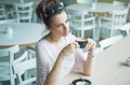 Thoughtfull cute lady at the coffee break woman Royalty Free Stock Photo