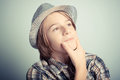 Thoughts little boy with hat Royalty Free Stock Image