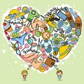 Thoughts love of boys and girls in doodles Royalty Free Stock Photo