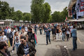 Thousands of fans arrive at springesteen concert in milan italy june gather outside the stadium waiting for the gates to open Stock Photo
