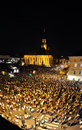 Thousands of people during a live rock opera cluj aug stephen the king performed on the main square cluj the hungarian days the Stock Photos