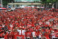 Thousands of red shirts protest in bangkok around shirt protesters gather at a rally the city centre on may thailand the Stock Images