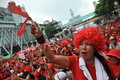 Thousands of red shirts protest in bangkok a protester joins a strong shirt rally the city centre on may thailand the protesters Stock Photo