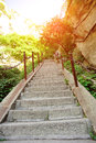 Thousands steps at huashan mountain built the cliff of china Royalty Free Stock Image