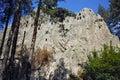 Thracian Sanctuary Eagle Rocks near town of Ardino in Rhodopes mountain, Bulgaria Royalty Free Stock Photo