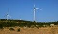 Three Wind Turbines, Blue Sky ...
