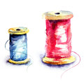Thread bobbin watercolor illustration of Royalty Free Stock Images