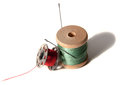 Thread the image of and needles for sewing Stock Image