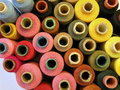 Thread spools different colors can use as background Royalty Free Stock Image