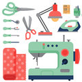 Thread supplies accessories sewing equipment tailoring fashion pin craft needlework vector illustration.