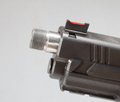 Threaded barrel handgun with a that is for a silencer Stock Image